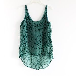 PJK Patterson Kincaid green high low sheer polka